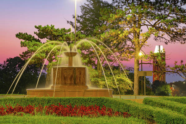 Omega Photograph - Chi Omega Fountain And Campanile Tower - Kansas University by Gregory Ballos