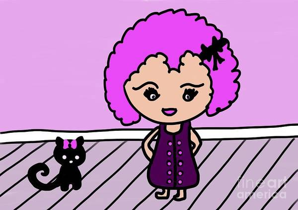 Digital Art - Chibu Girl And Cat Whimsy by Barefoot Bodeez Art