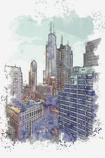 Lake District Painting - Chicago 56 Watercolor By Ahmet Asar by Celestial Images
