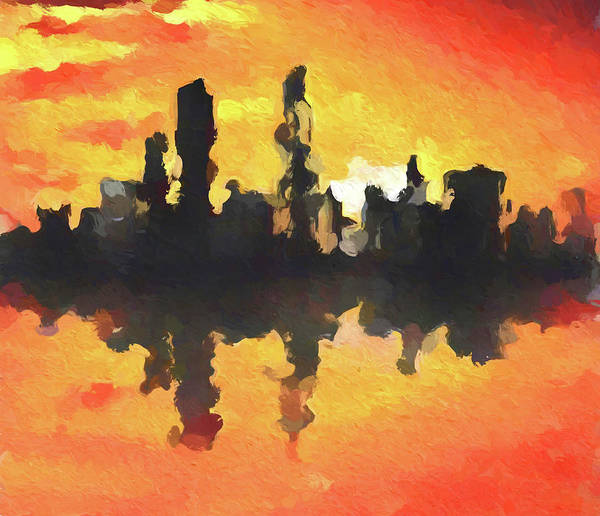 Painting - Chicago Abstract Skyline Sunset by Dan Sproul