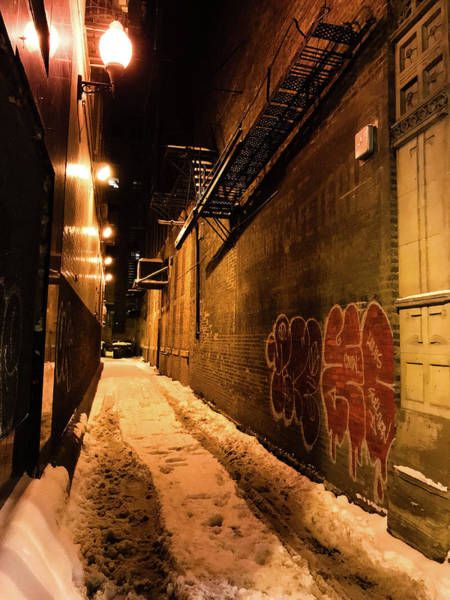 Photograph - Chicago Alleyway At Night by Shane Kelly