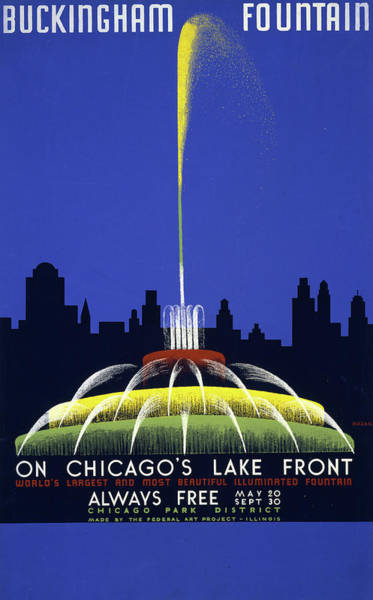 Wall Art - Mixed Media - Chicago And Buckingham Fountain Travel Poster by Library Of Congress