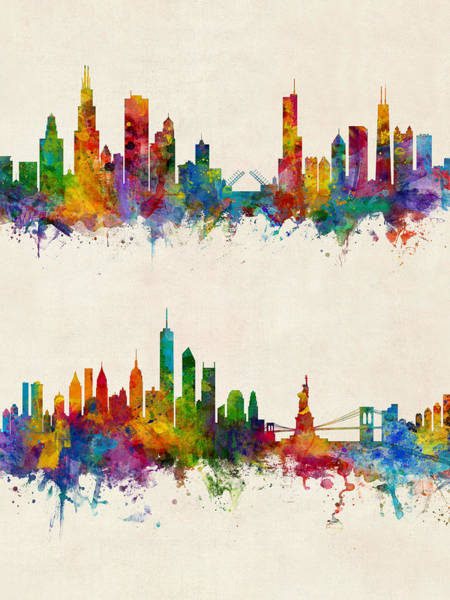 Wall Art - Digital Art - Chicago And New York City Skylines by Michael Tompsett
