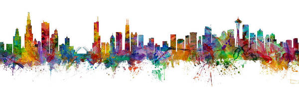 Seattle Digital Art - Chicago And Seattle Skylines Mashup by Michael Tompsett