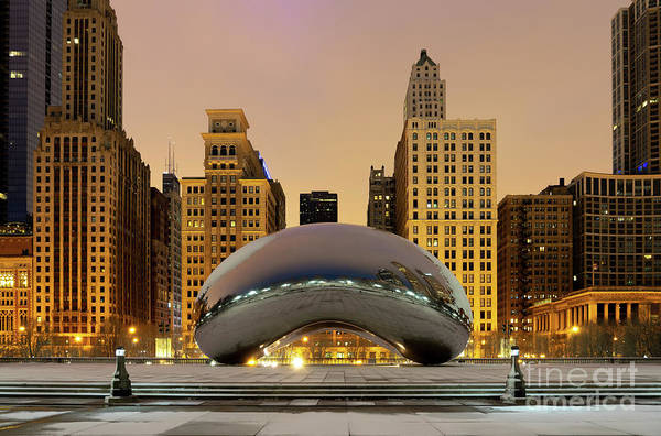 Wall Art - Photograph - Chicago Bean Cloud Gate At Night Photo by Anya Velgos
