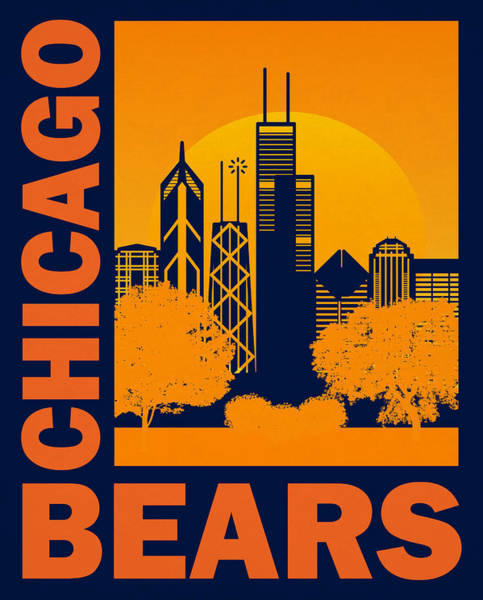 Wall Art - Mixed Media - Chicago Bears Retro Vintage Art by Joe Hamilton