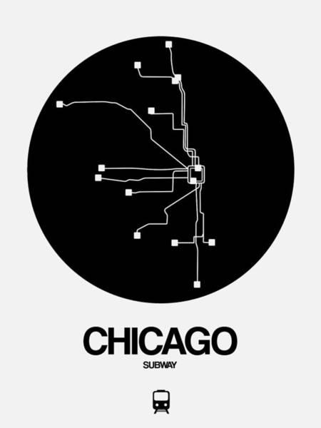 Wall Art - Digital Art - Chicago Black Subway Map by Naxart Studio