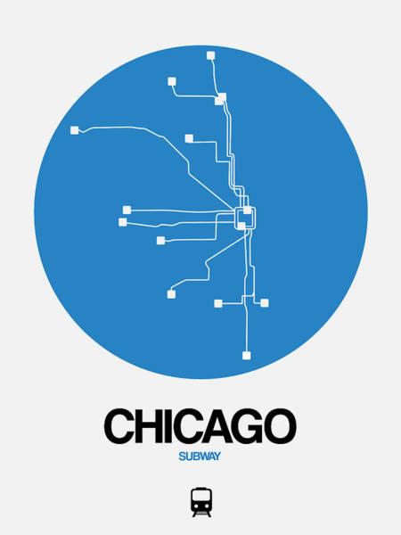 Wall Art - Digital Art - Chicago Blue Subway Map by Naxart Studio