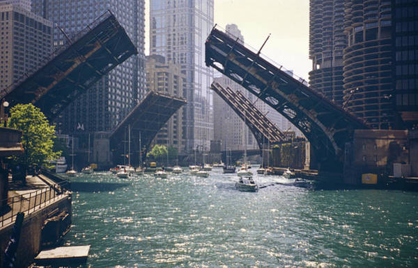 On The Move Photograph - Chicago Bridges by By Ken Ilio