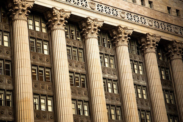 Greek Revival Architecture Photograph - Chicago Building Columns Architecture by Nazdravie