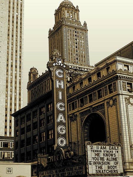 Photograph - Chicago Cinema Theater - Vintage Photo Art by Peter Potter