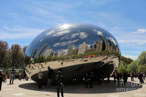 Wall Art - Photograph - Chicago City Reflection In The Cloud Gate by Christiane Schulze Art And Photography