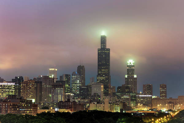 Photograph - Chicago City Skyline Architecture With Cloudy Skies by Gregory Ballos