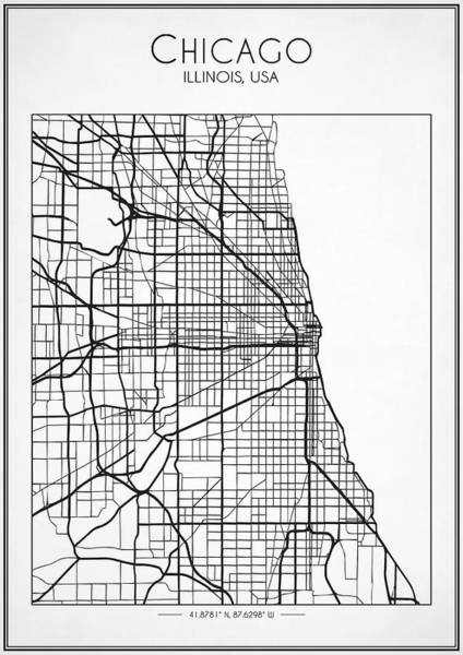 Digital Art - Chicago City Street Map by Zapista Zapista