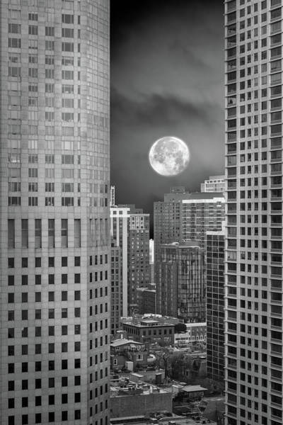 Wall Art - Photograph - Chicago City View Rising Moon In Dec Bw Vertical 02 by Thomas Woolworth