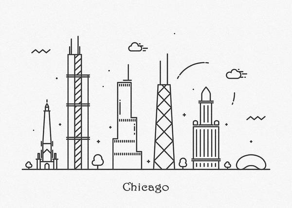 Wall Art - Drawing - Chicago Cityscape Travel Poster by Inspirowl Design