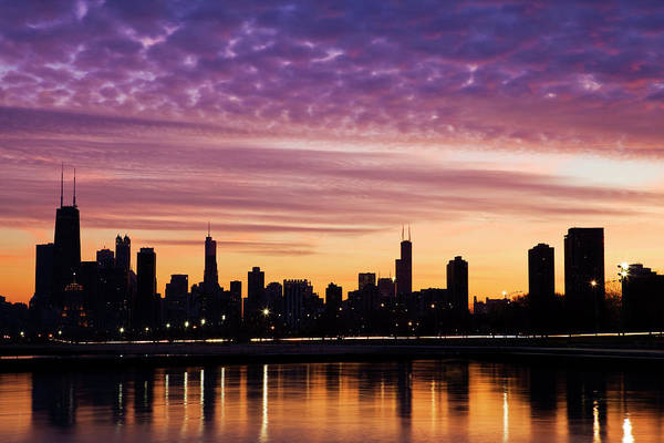 Lake Photograph - Chicago Downtown By Night by Bluehill75