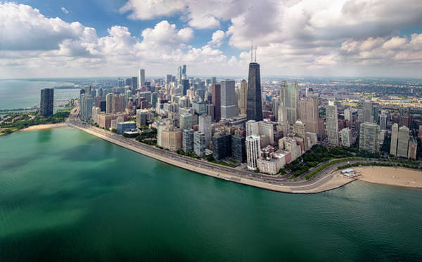 Photograph - Chicago Gold Coast Aerial Panoramic by Adam Romanowicz