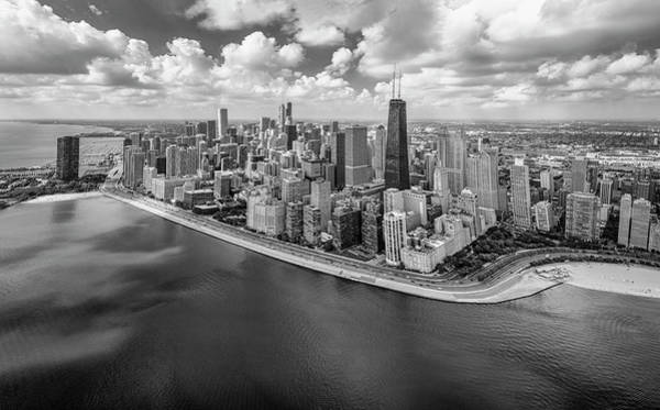 Wall Art - Photograph - Chicago Gold Coast Aerial Panoramic Bw by Adam Romanowicz
