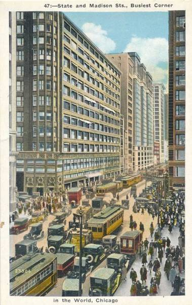 Wall Art - Painting - Chicago, Il State   Madison Sts. Busiest Corner In The World Tinted Postcard by Celestial Images