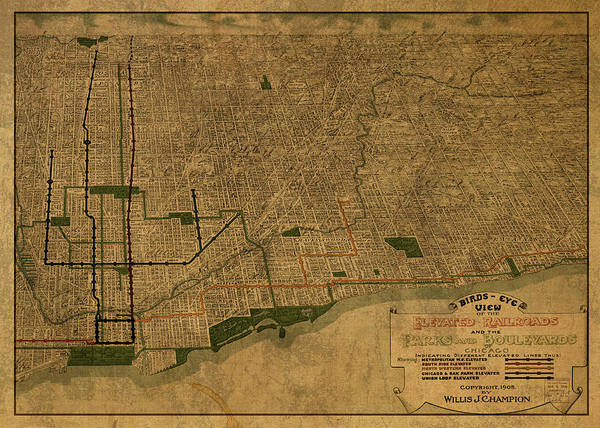 Wall Art - Mixed Media - Chicago Illinois Birds Eye View Vintage City Street Map 1907 by Design Turnpike