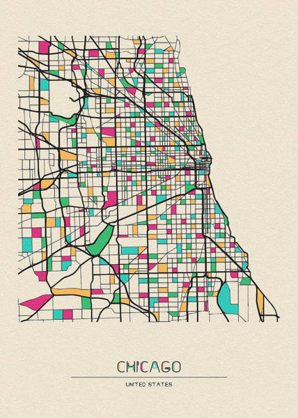 Wall Art - Drawing - Chicago, Illinois City Map by Inspirowl Design