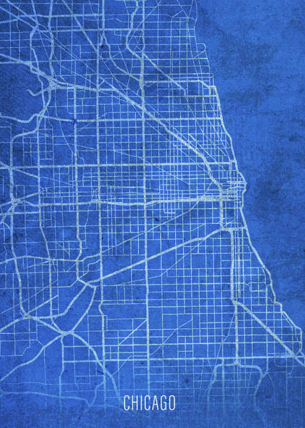 Wall Art - Mixed Media - Chicago Illinois City Street Map Blueprints by Design Turnpike