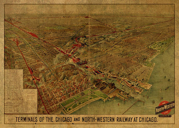 Wall Art - Mixed Media - Chicago Illinois Railway Terminals Vintage City Street Map 1902 by Design Turnpike