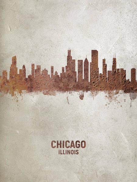 Wall Art - Digital Art - Chicago Illinois Rust Skyline by Michael Tompsett