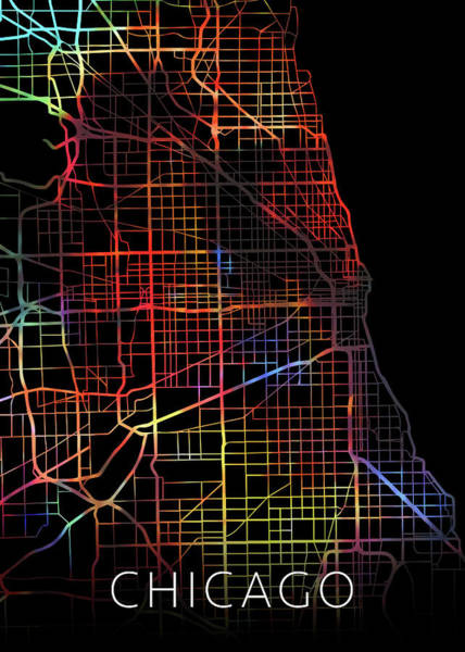 Wall Art - Mixed Media - Chicago Illinois Watercolor City Street Map Dark Mode by Design Turnpike