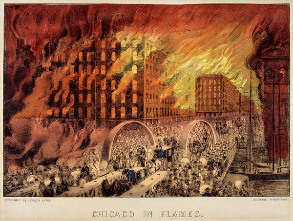 Wall Art - Painting - Chicago In Flames, 1871 by American School