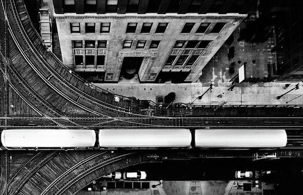 Chicago Photograph - Chicago L Train On Tracks by Photo By John Crouch