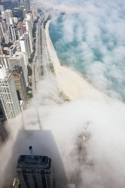 Lakeshore Photograph - Chicago Lakeshore Through The Fog by Stevegeer