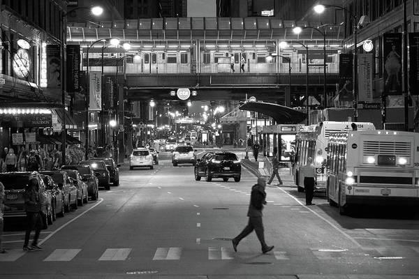 Wall Art - Photograph - Chicago At Night, Madison St At Michigan Ave by Jim Hughes