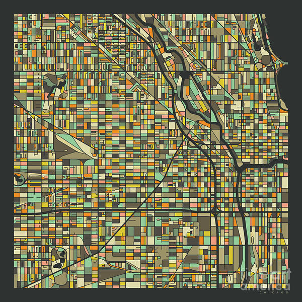 Chicago Art Digital Art - Chicago Map 2 by Jazzberry Blue