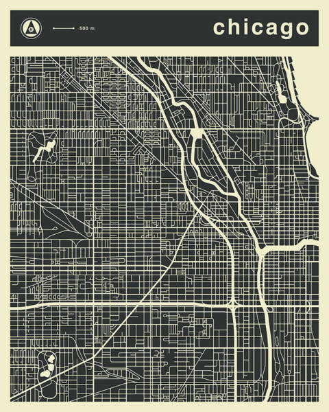 Wall Art - Digital Art - Chicago Map 3 by Jazzberry Blue