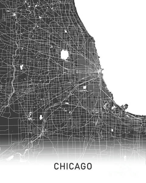 Wall Art - Photograph - Chicago Map Black And White by Delphimages Photo Creations