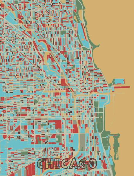 Wall Art - Digital Art - Chicago Map Retro 3 by Bekim M