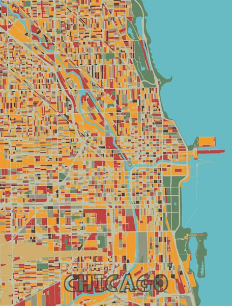 Wall Art - Digital Art - Chicago Map Retro by Bekim M