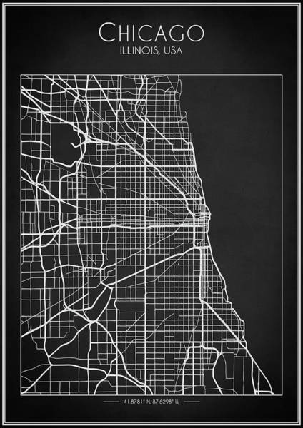 Digital Art - Chicago Map by Zapista Zapista