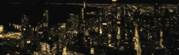 Wall Art - Photograph - Chicago Nighttime South City View In Dec Bw Yellow Glow Panorama by Thomas Woolworth