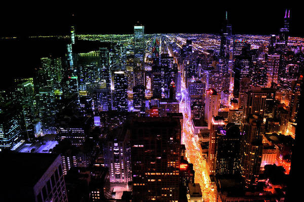 Wall Art - Photograph - Chicago Nighttime South City View In Dec Rainbow by Thomas Woolworth