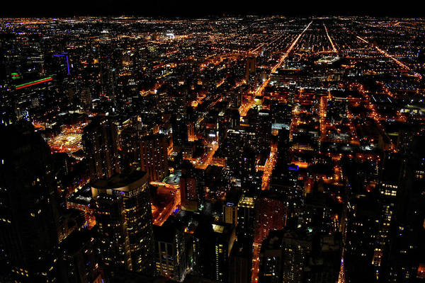 Wall Art - Photograph - Chicago Nighttime West City View In Dec 01 by Thomas Woolworth