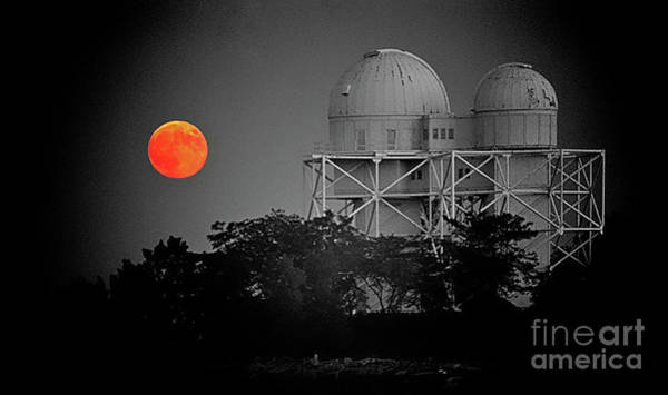 Photograph - Chicago Northwestern University Observitory With Moon  by Tom Jelen