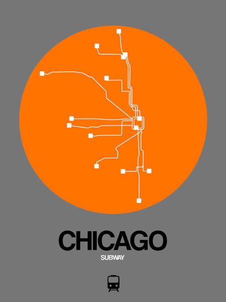 Wall Art - Digital Art - Chicago Orange Subway Map by Naxart Studio