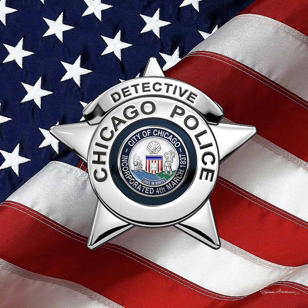 Digital Art - Chicago Police Department Badge -  C P D  Detective Star Over American Flag by Serge Averbukh