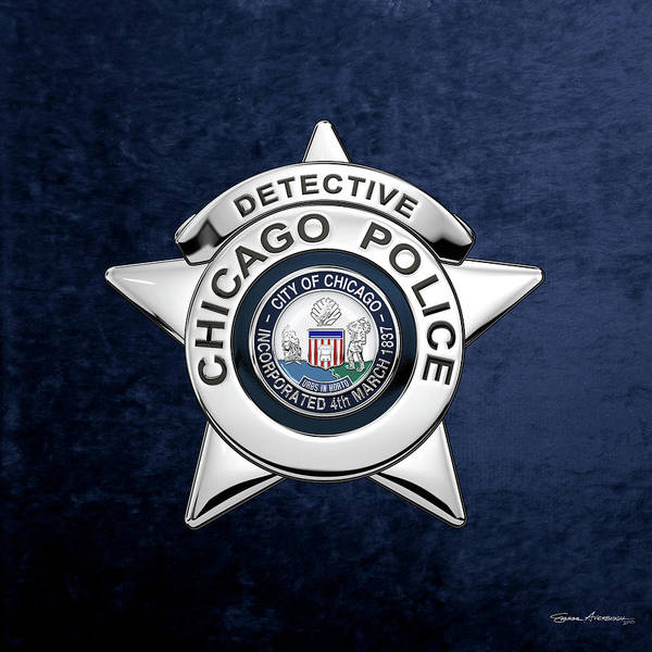 Digital Art - Chicago Police Department Badge -  C P D  Detective Star Over Blue Velvet by Serge Averbukh