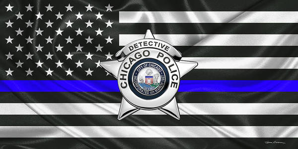 Digital Art - Chicago Police Department Badge -  C P D  Detective Star Over The Thin Blue Line Flag by Serge Averbukh