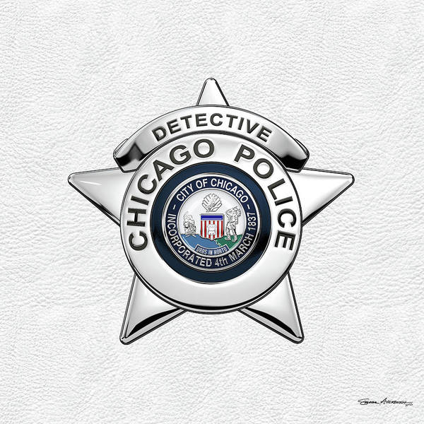 Digital Art - Chicago Police Department Badge -  C P D  Detective Star Over White Leather by Serge Averbukh