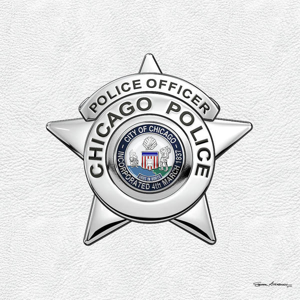 Digital Art - Chicago Police Department Badge -  C P D   Police Officer Star Over White Leather by Serge Averbukh